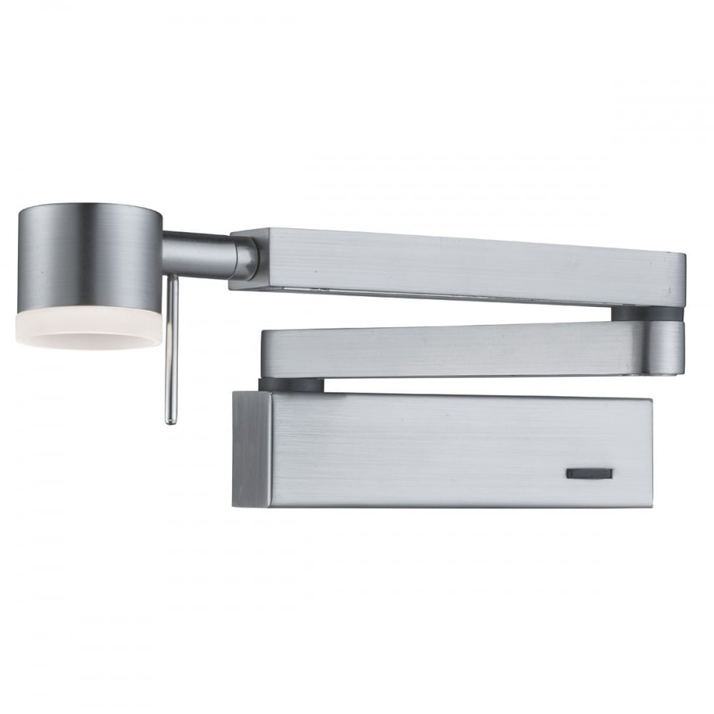 Adjustable Swing Arm Satin Silver LED Wall Light