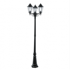 ALEX 3 headed black aluminium garden lamp post