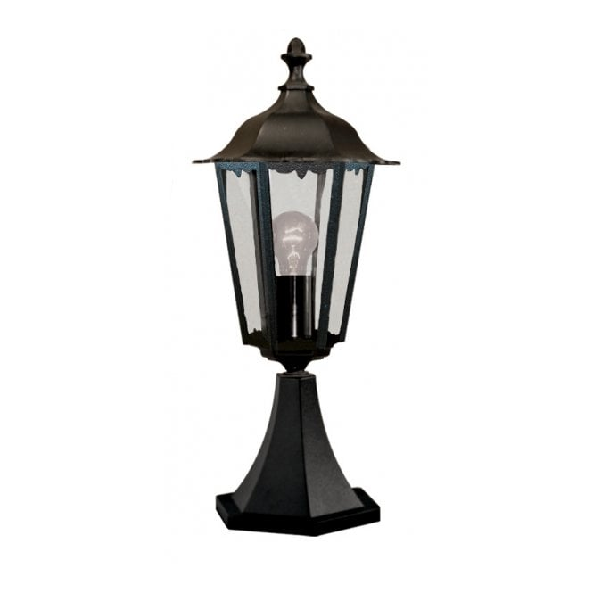 Garden Pedestal Light in Black Cast Aluminium IP44 Gate Post Light