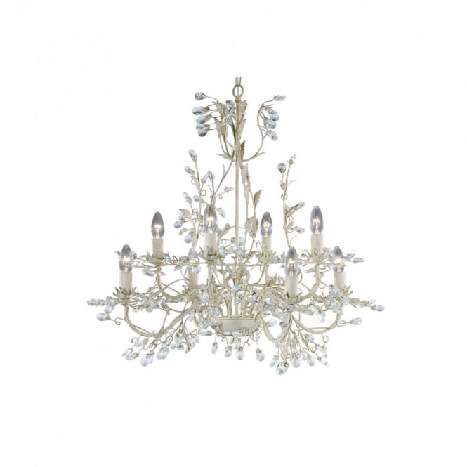 Lighting Catalogue ALMANDITE 8 light cream & gold chandelier