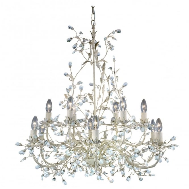 Lighting Catalogue ALMANDITE large 12 light cream & gold chandelier