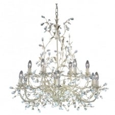 ALMANDITE large 12 light cream & gold chandelier