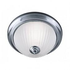 AMERICAN DINER flush bathroom satin silver & glass ceiling light