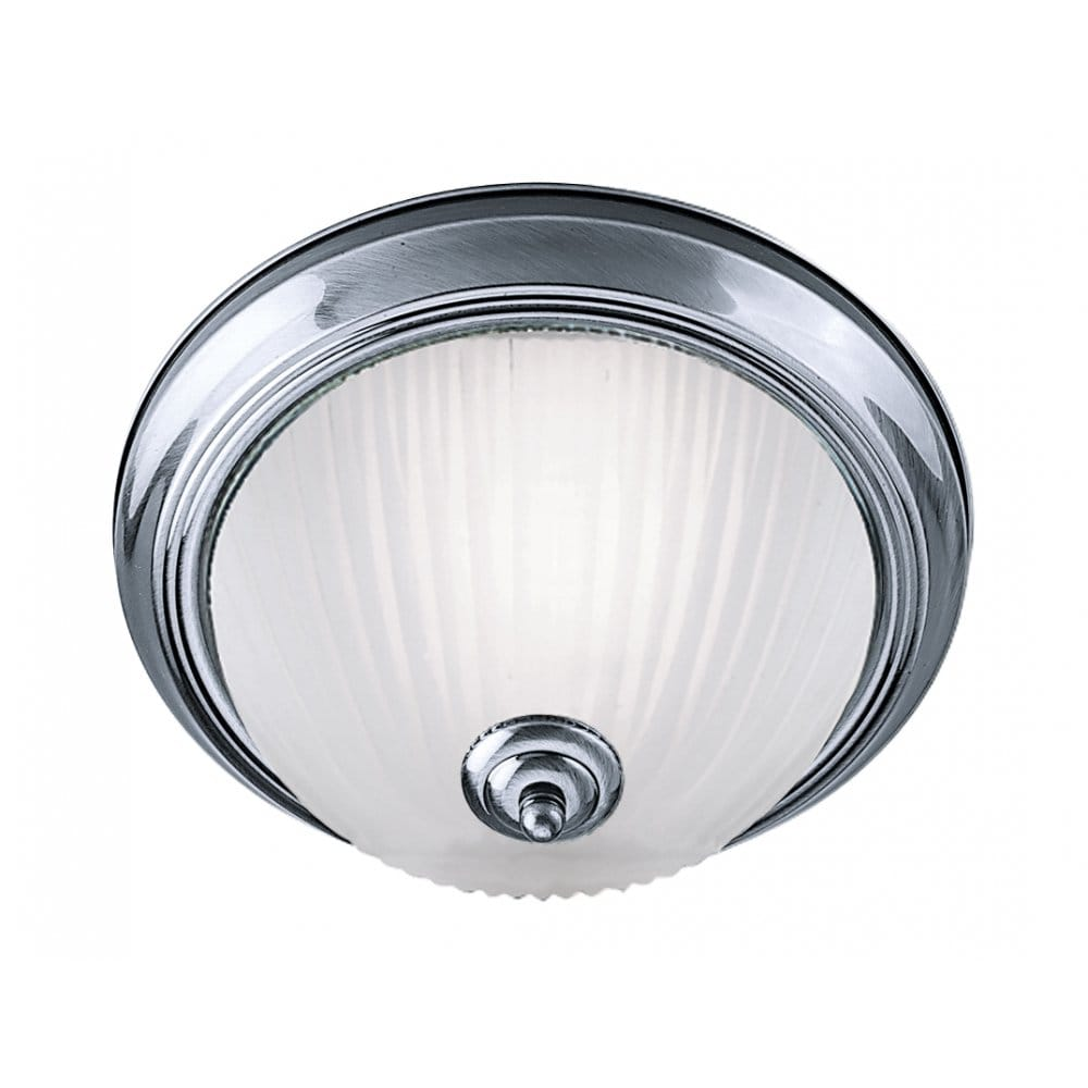 Flush fitting light for low ceilings circular satin silver for Bathroom ceiling lights