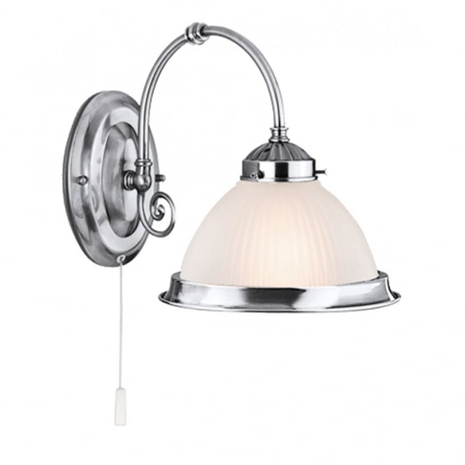 Lighting Catalogue AMERICAN DINER satin silver & translucent opal glass wall light