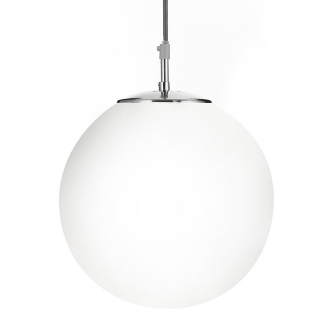 Lighting Catalogue ATOM opal glass globe ceiling pendant with silver suspension