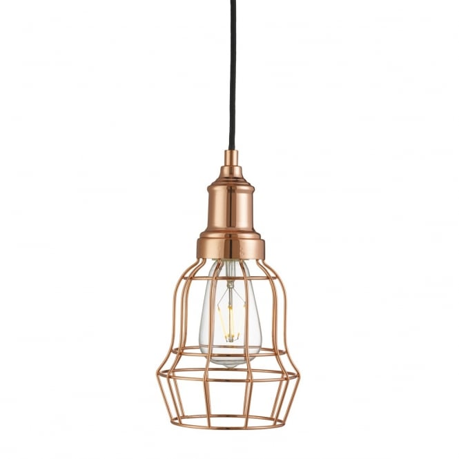 Lighting Catalogue BELL CAGE single ceiling pendant in copper