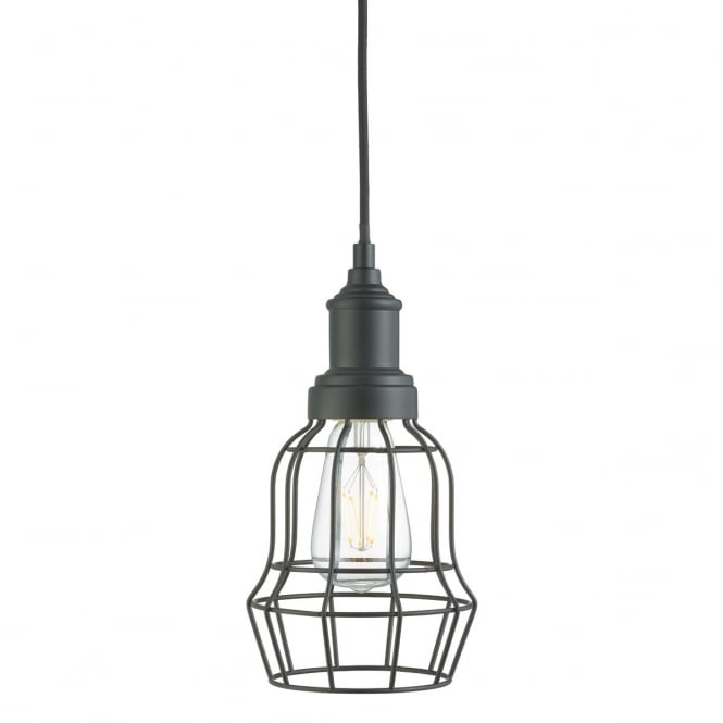 Lighting Catalogue BELL CAGE single ceiling pendant in matt black