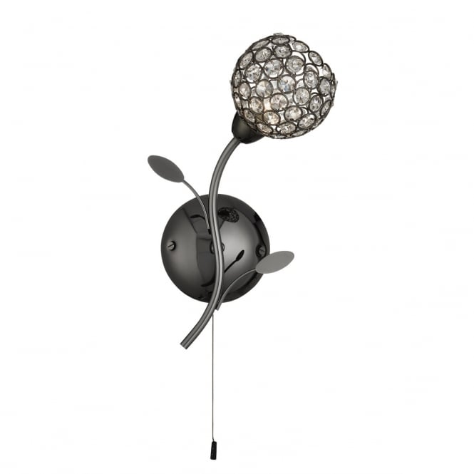 Lighting Catalogue BELLIS II black chrome wall light with clear glass shade