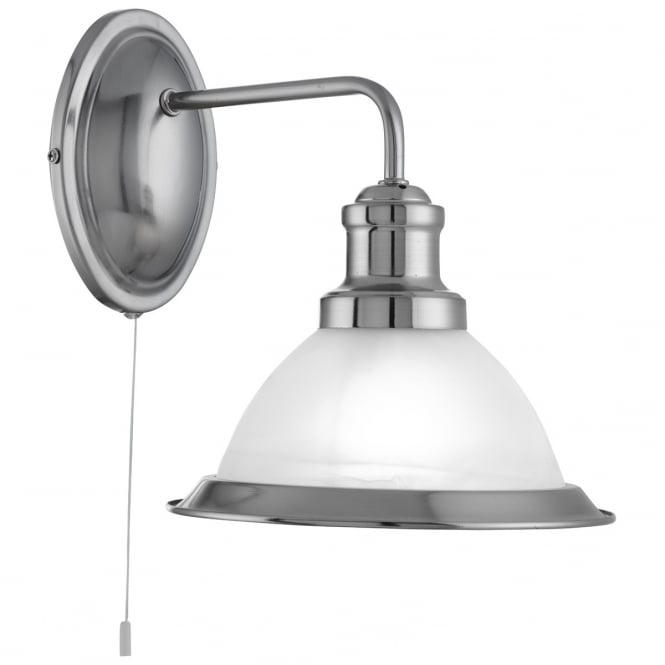 Lighting Catalogue BISTRO satin silver wall light with acid glass shade