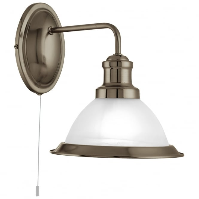 Lighting Catalogue BISTRO single antique brass wall light with acid glass diffuser
