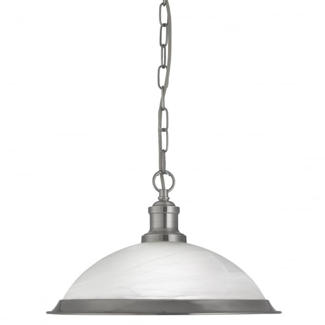 Lighting Catalogue BISTRO single ceiling pendant in satin silver with marble glass
