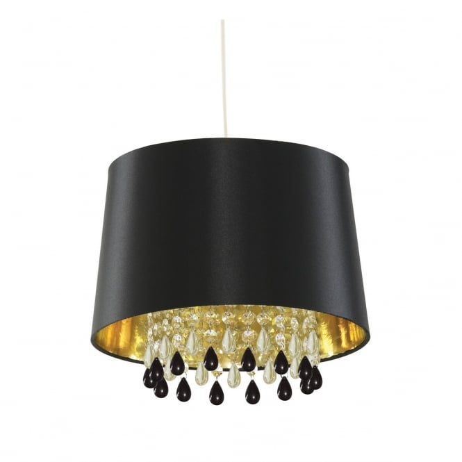 Lighting Catalogue BLACK faux silk ceiling pendant with acrylic bead droplets