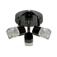 BLOCS 3 light ceiling spotlight cluster in black chrome with ice cube glass shades