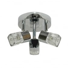 BLOCS 3 light ceiling spotlight cluster in chrome with ice cube glass shades