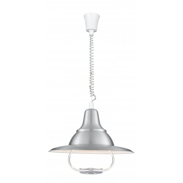 Rise And Fall Light Fitting In Satin Silver With Curly