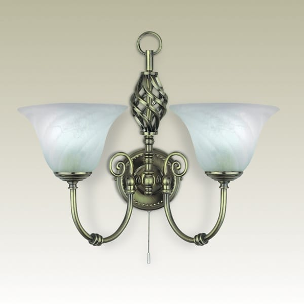 Wall Lights Glass Shades : Cameroon Antique Brass Double Wall Light with Marble Glass Shades