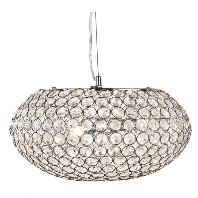 Lighting Catalogue CHANTILLY chrome ceiling pendant with crystal button shade