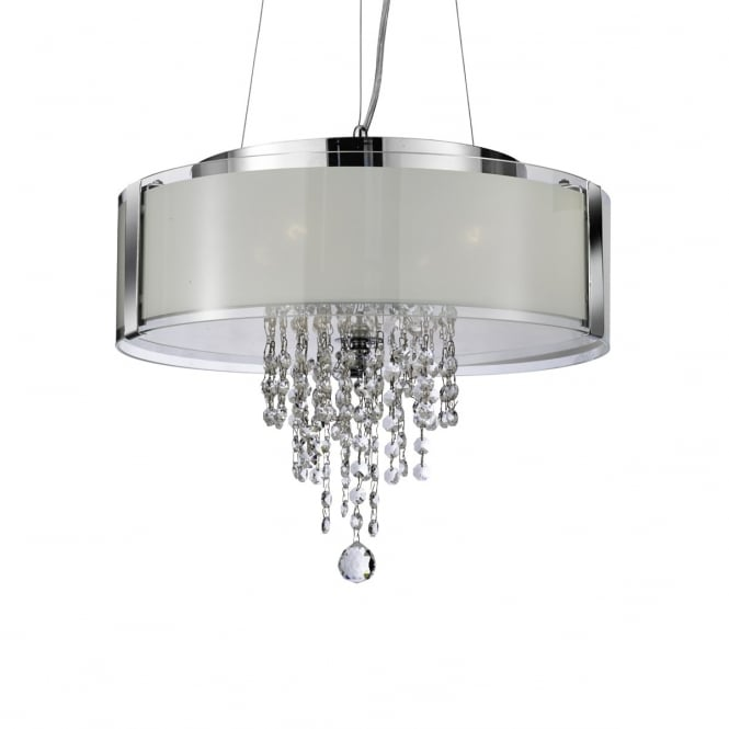 Lighting Catalogue CHROME 4 light pendant with frosted glass panels and crystal drops
