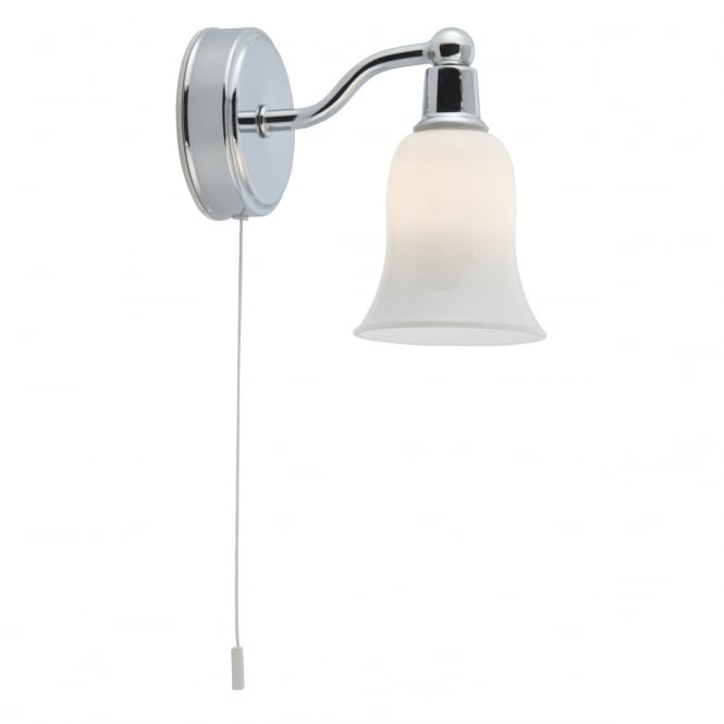 Lighting Catalogue CHROME single bathroom wall light with white shade and pull cord