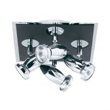 COMET black & chrome 4 light ceiling spotlight cluster