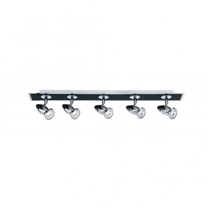 Lighting Catalogue COMET black & chrome 5 light ceiling spotlight bar