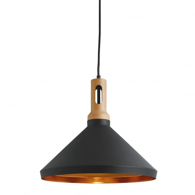 CONE contemporary pendant with black outer, gold inner and wooden finial