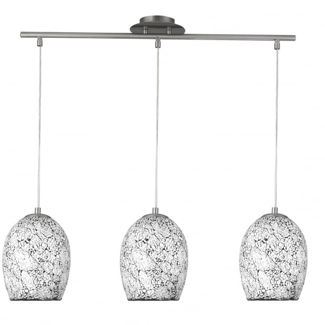 Lighting Catalogue CRACKLE 3 light white mosaic ceiling bar pendant