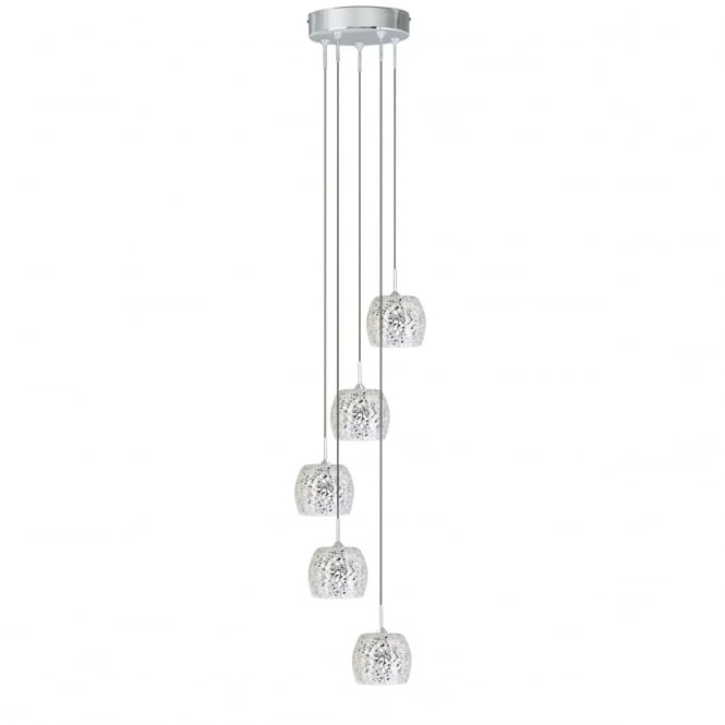 Lighting Catalogue CRACKLE 5 light cluster pendant with mirror glass mosaic shades