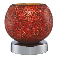 red mosaic glass touch lamp with chrome base