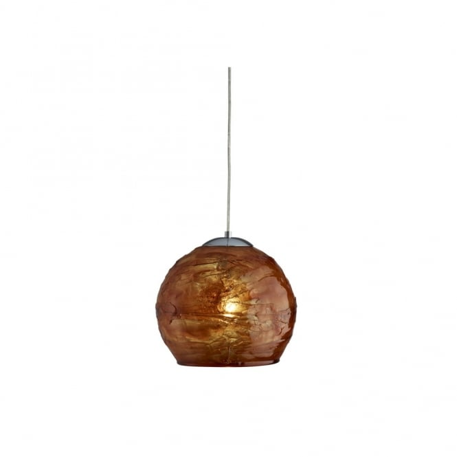 Lighting Catalogue CRACKLE single amber ceiling pendant with chrome suspension