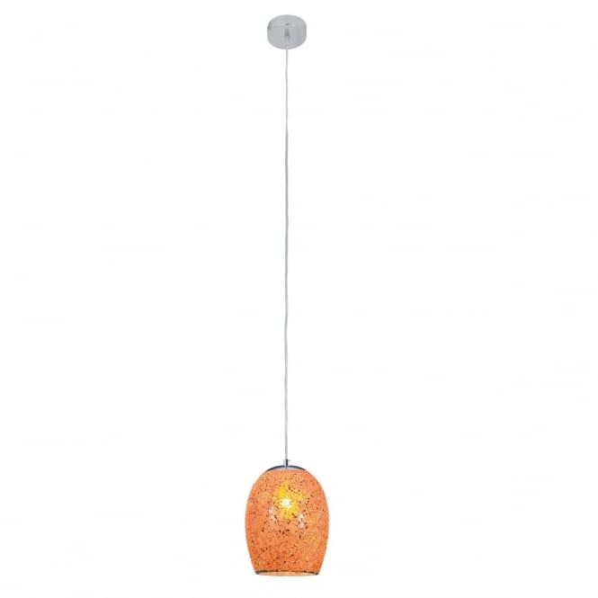 Lighting Catalogue CRACKLE single orange mosaic glass pendant with satin silver suspension