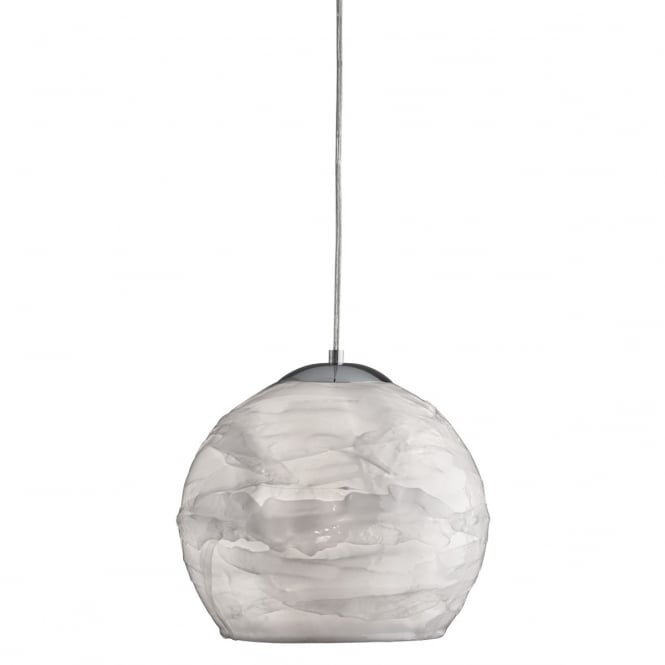 Lighting Catalogue CRACKLE single white ceiling pendant with chrome suspension