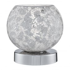 white crackle effect mosaic glass touch lamp with chrome base