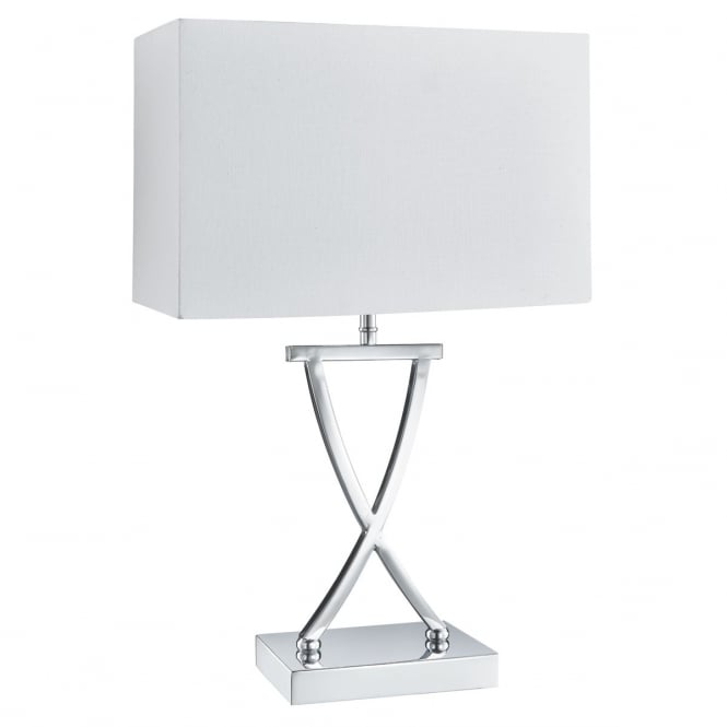 CROSS chrome table lamp with white rectangle shade