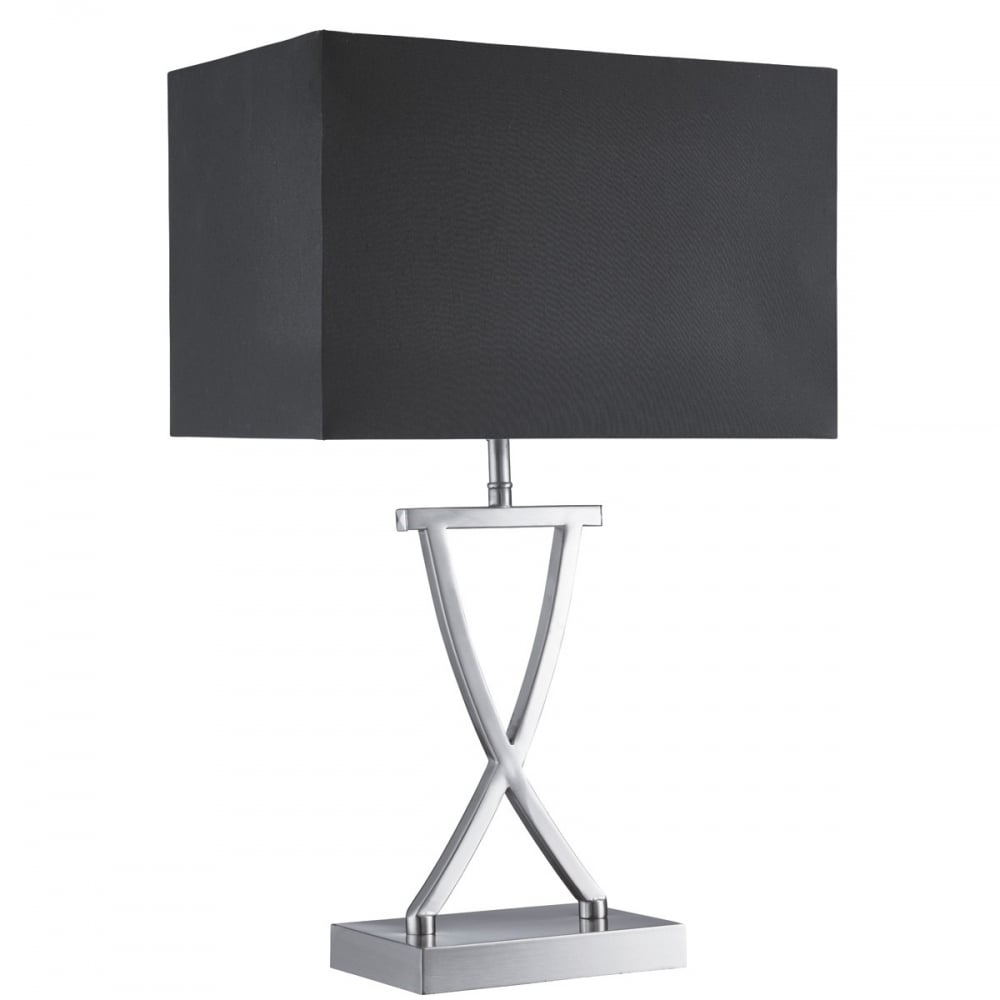 Contemporary satin chrome table lamp with cross design base modern criss cross satin chrome lamp with black shade mozeypictures Gallery