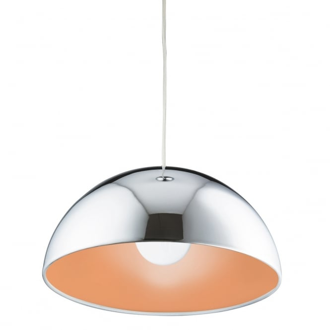 Lighting Catalogue DOMAS polished chrome dome ceiling pendant with orange inner