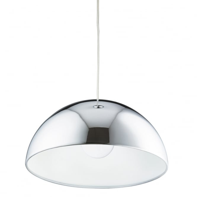 Lighting Catalogue DOMAS polished chrome dome ceiling pendant with white inner