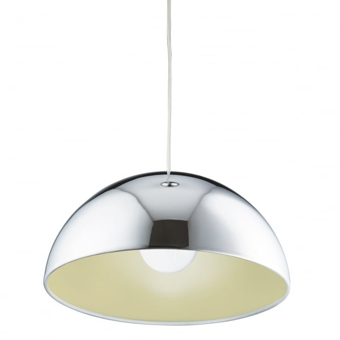 Lighting Catalogue DOMAS polished chrome dome ceiling pendant with yellow inner