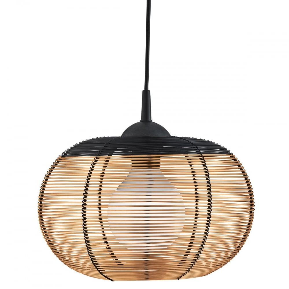 Copper Cage Frame Ceiling Pendant With Black Trim And