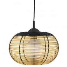 gold cage frame ceiling pendant light with black trim