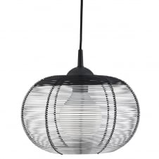 silver cage frame ceiling pendant with black trim
