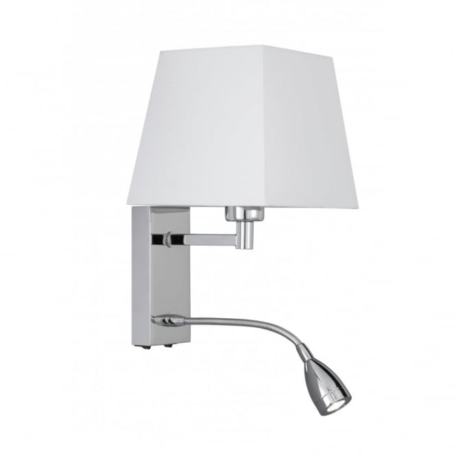 Over Bed Wall Light with Shade Incorporating Flexible LED book light