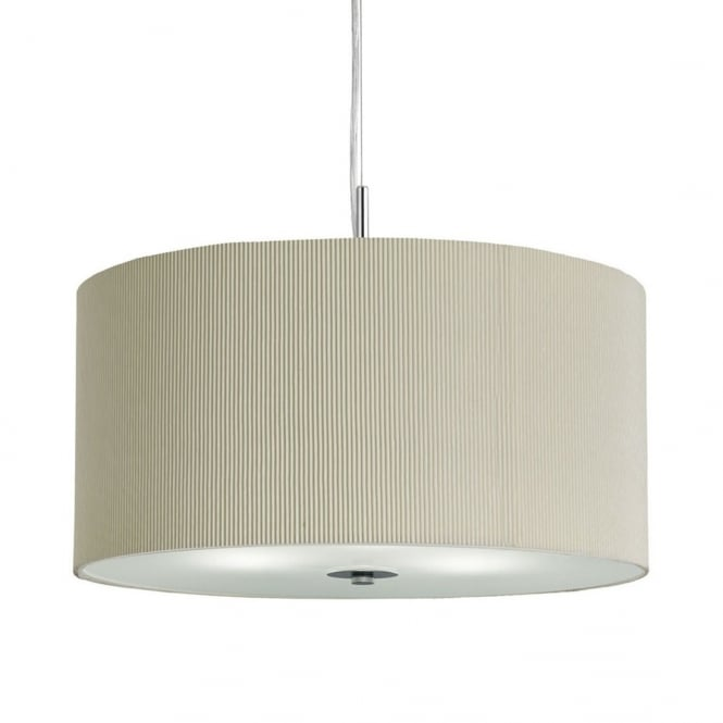 Lighting Catalogue DRUM PLEAT PENDANT - 3 LIGHT PLEATED SHADE PENDANT CREAM WIT