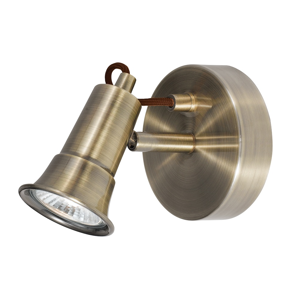 Traditional Antique Brass Wall Spot Light Adjustable Rustic Light
