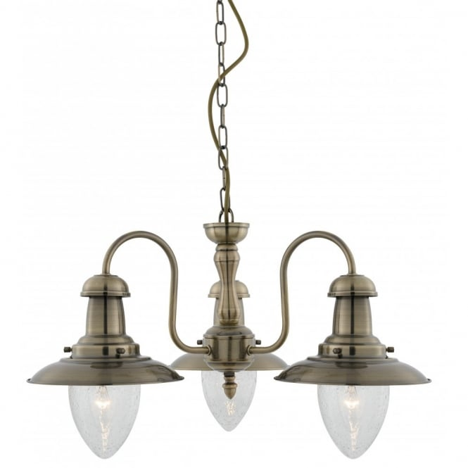 Lighting Catalogue FISHERMAN 3 light antique brass ceiling pendant