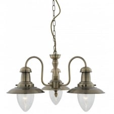 FISHERMAN 3 light antique brass ceiling pendant