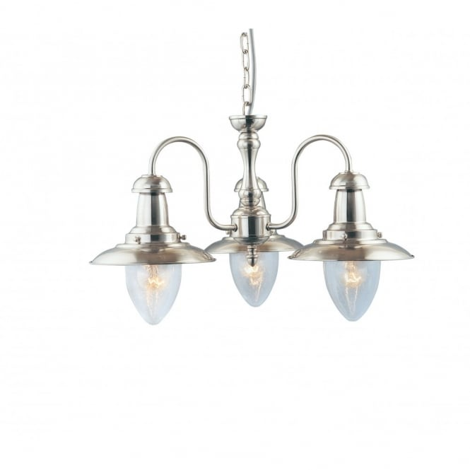 FISHERMAN 3 light ceiling pendant in satin silver