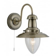 FISHERMAN traditional antique brass single wall light