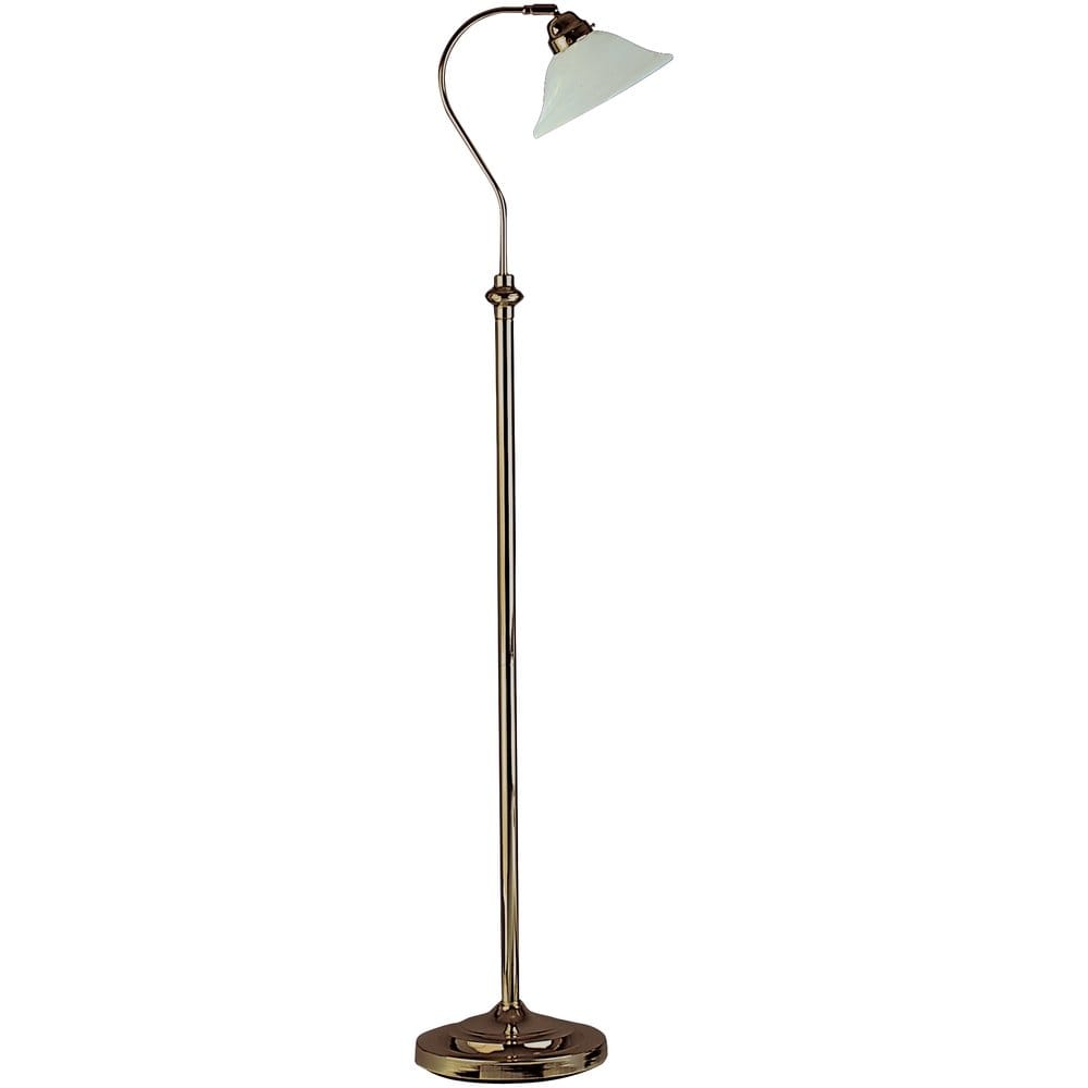 Traditional Floor Lamp In Antique Brass With Adjustable Shade